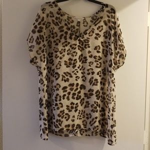 By Together L Leopard Print Sheer Tunic/Blouse
